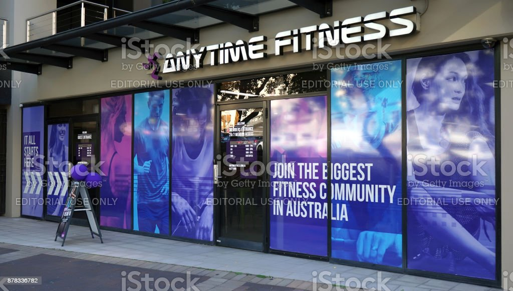 Anytime Fitness Edgecliff entrance exterior. Anytime Fitness is a biggest gymnasiums chain in Australia that offers 24 hour access stock photo