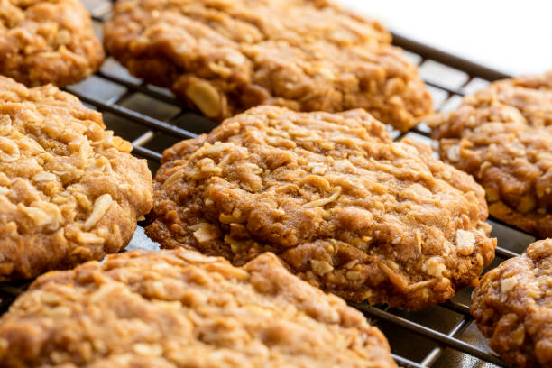 Anzac Biscuits Cooling on Rack stock photo