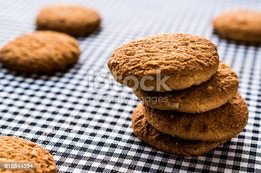 istock Anzac Biscuits on tablecloth. 815844594