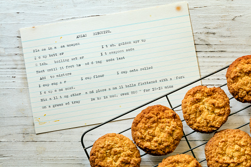 Anzac Biscuits With Vintage Typewritten Recipe Top View Stock Photo - Download Image Now