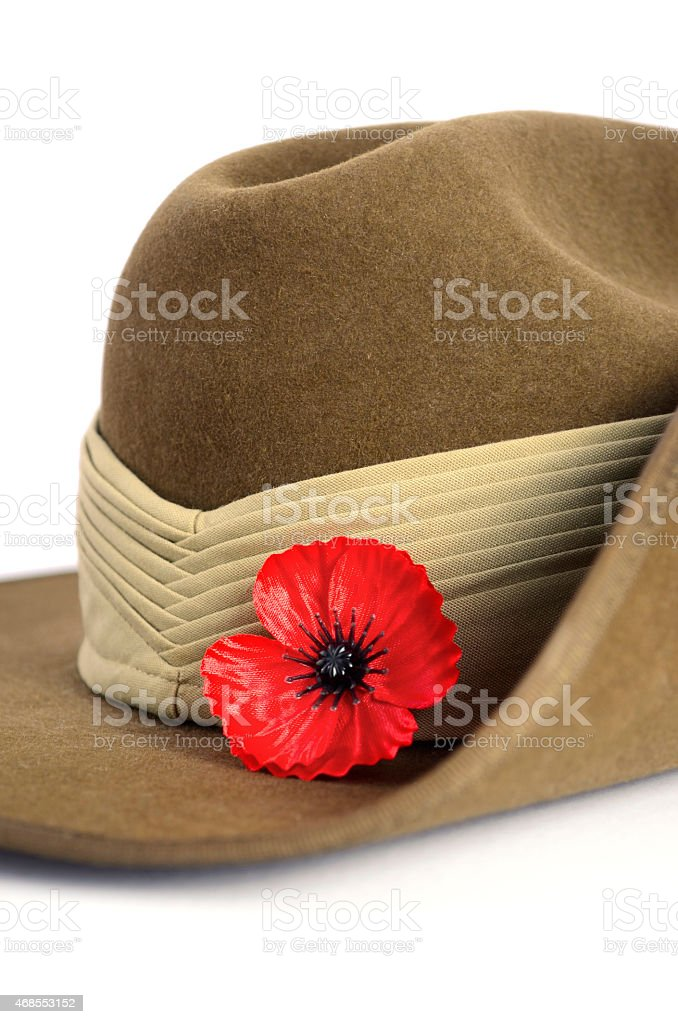 Anzac Day army slouch hat with red poppy stock photo