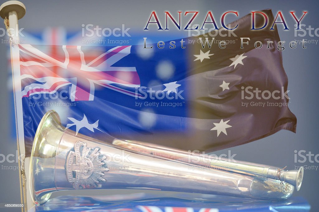 Anzac Day montage of a bugle, an Australian flag stock photo