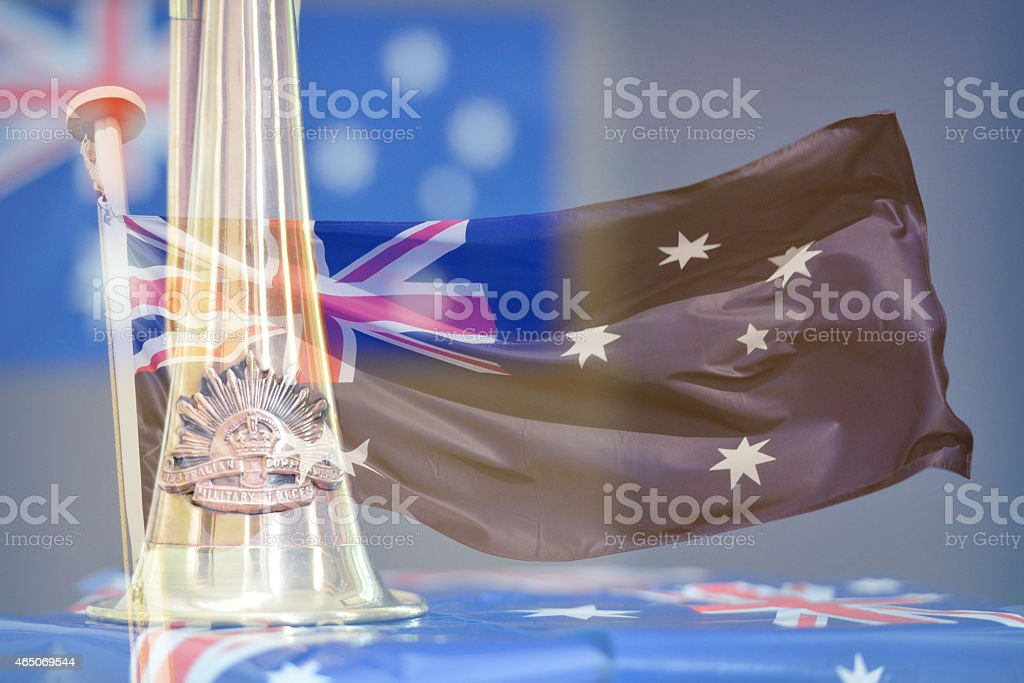 Anzac Day montage of a bugle, and an Australian flag stock photo