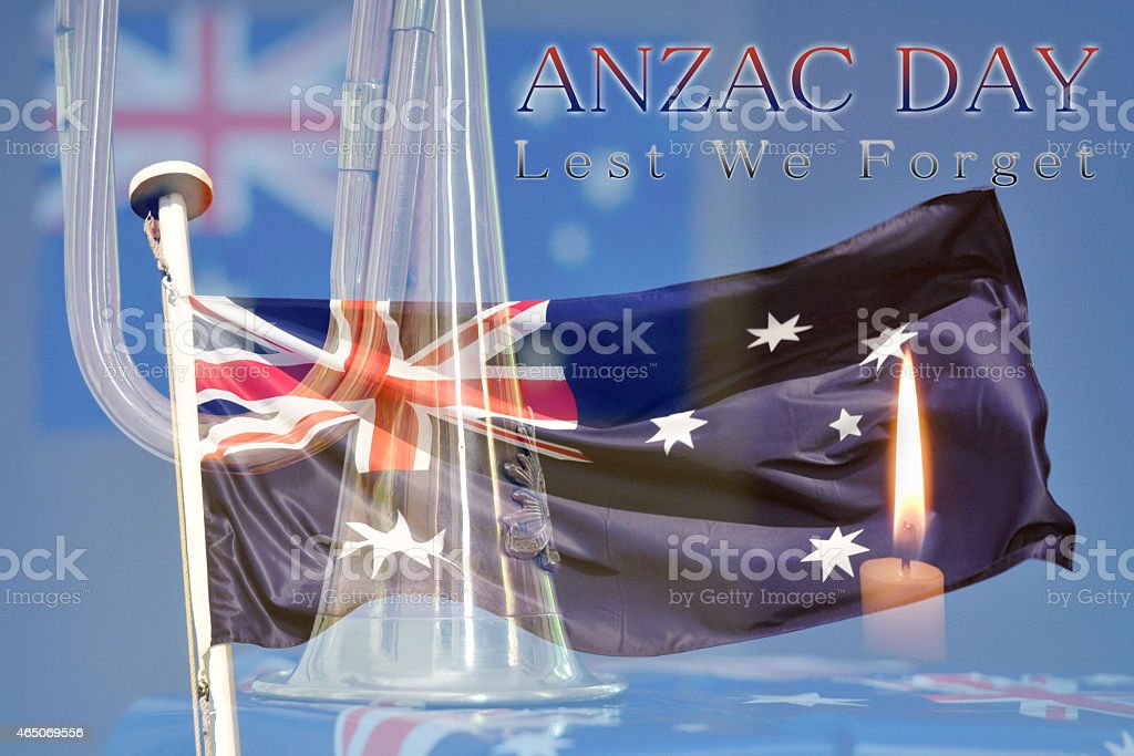 Anzac Day montage of bugle, Australian flag and candle stock photo