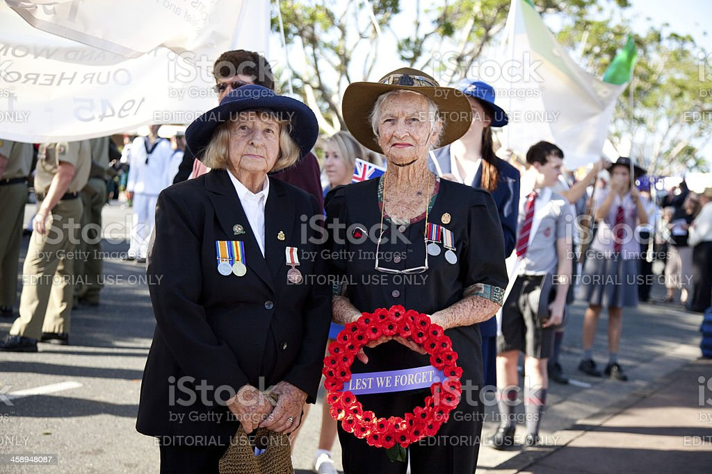 Anzac Day Service Women stock photo