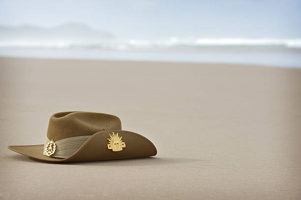Anzac Day slouch hat on beach with copyspace stock photo