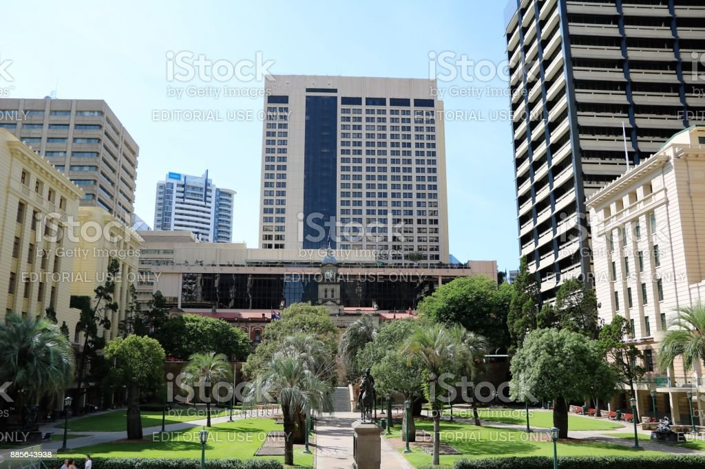 Anzac Square in Brisbane, Queensland Australia stock photo