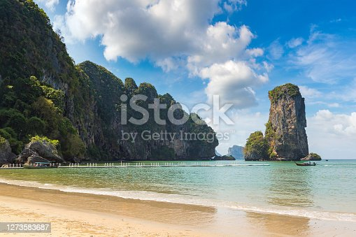 Ao Pai Plong beach, Krabi, Thailand in a summer day