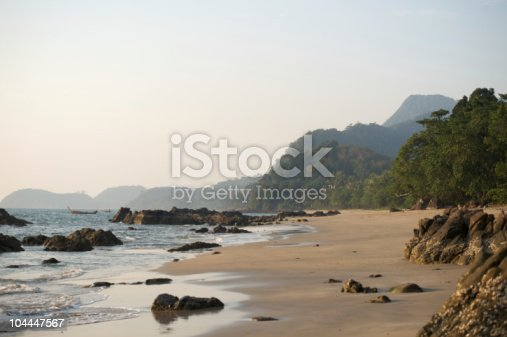 Beach and mountain view on Koh Jum Island in the Andaman Sea, Thailand