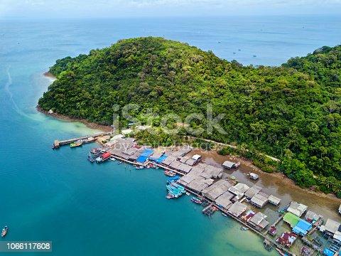 Aerial view of Ao Yai Fisherman Village in Koh Kood, Thailand