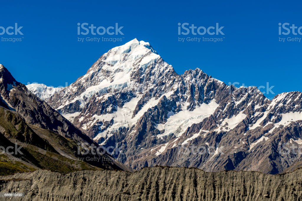 Aoraki Mount Cook Summit royalty-free stock photo