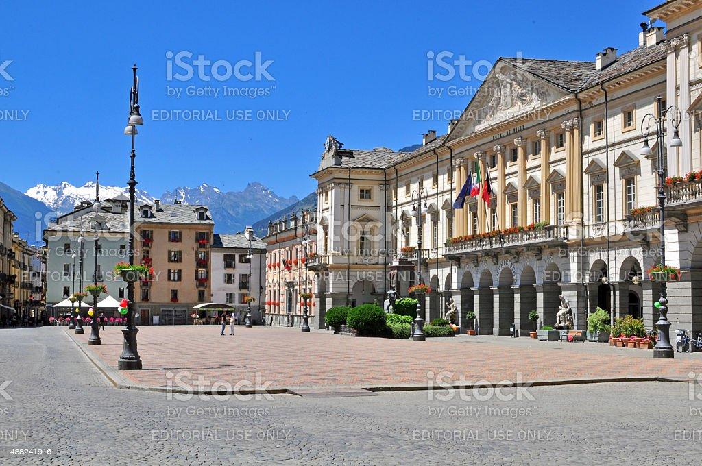 Aosta old town stock photo