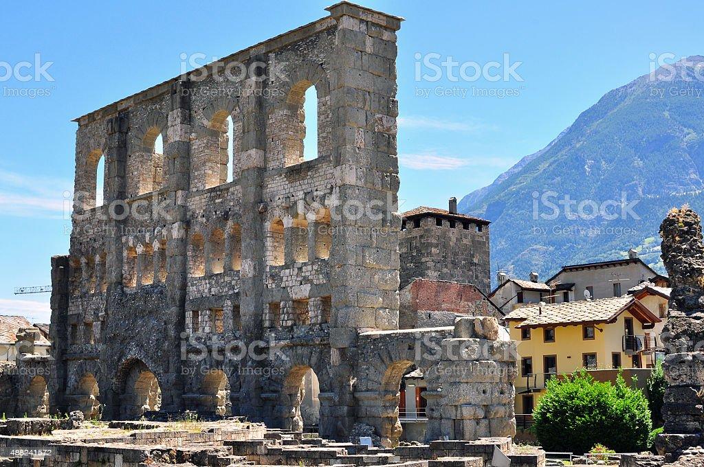 Aosta roman ruins stock photo