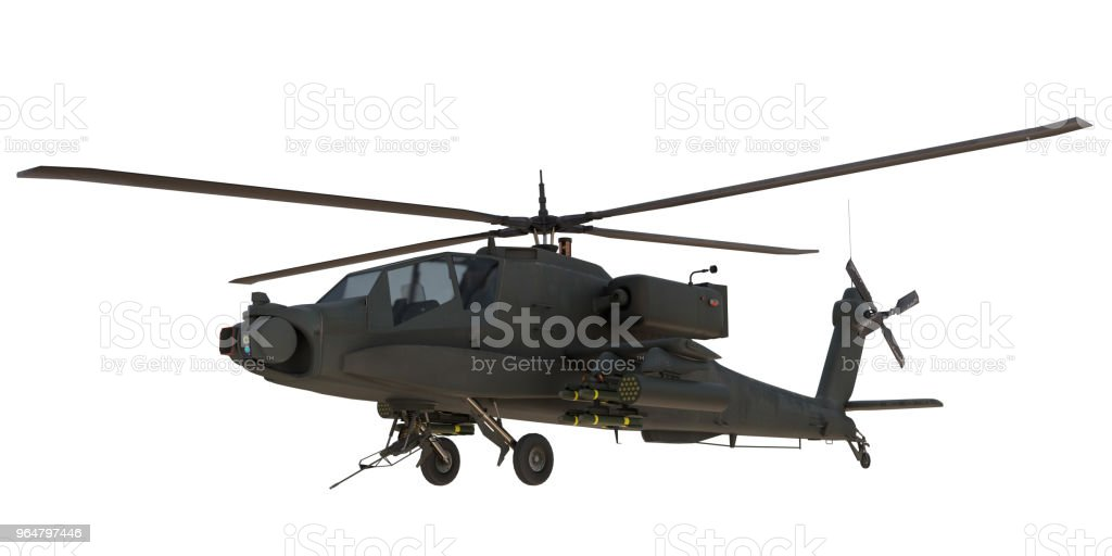 AH64 Apache attack Helicopter 3d render royalty-free stock photo