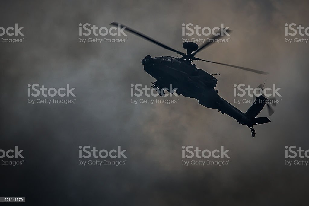 Apache Attack Helicopter / Battlefield Smoke stock photo