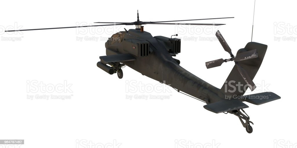 AH64 Apache attack Helicopter from back 3d render royalty-free stock photo