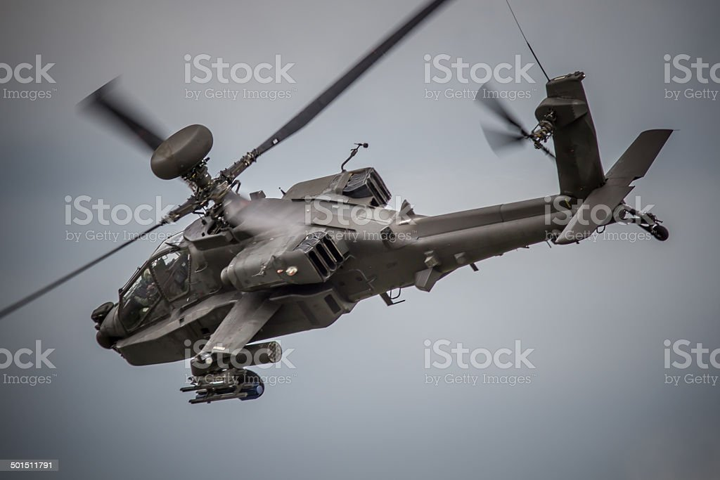 Apache Attack Helicopter Gunship in Flight stock photo