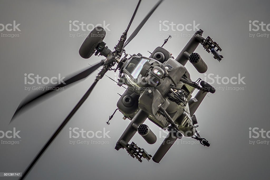 Apache Attack Helicopter Head On stock photo