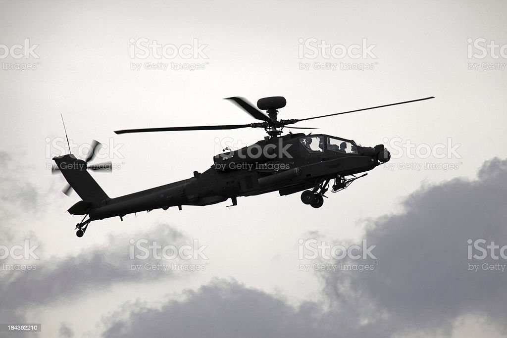AH-64 Apache Gunship In Flight stock photo