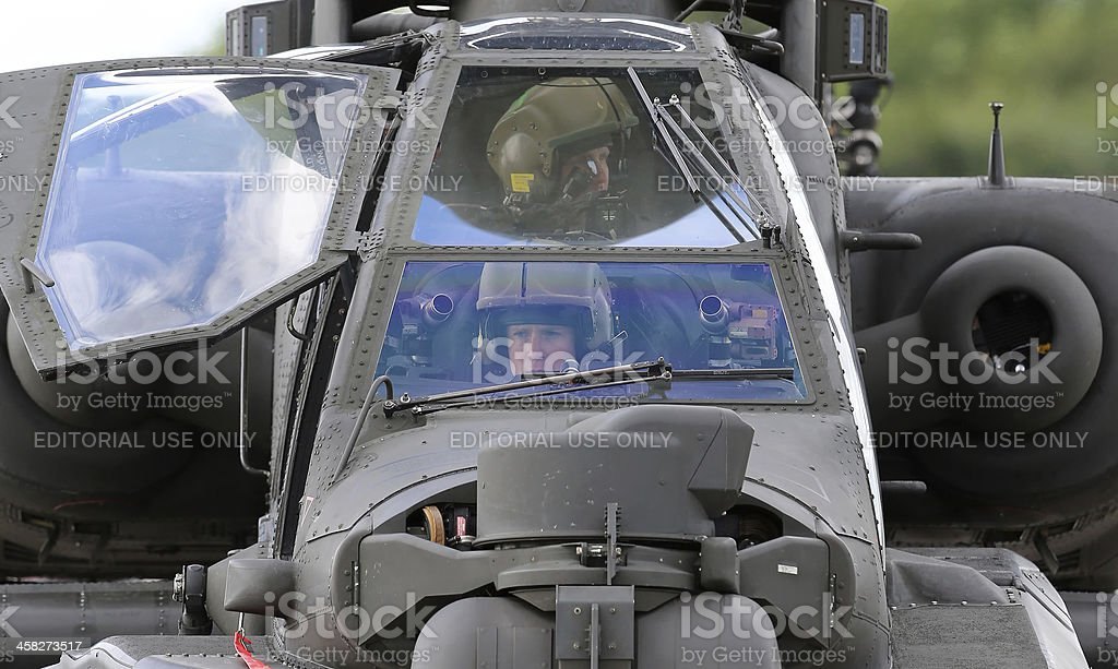 Apache Helicopter Crew stock photo