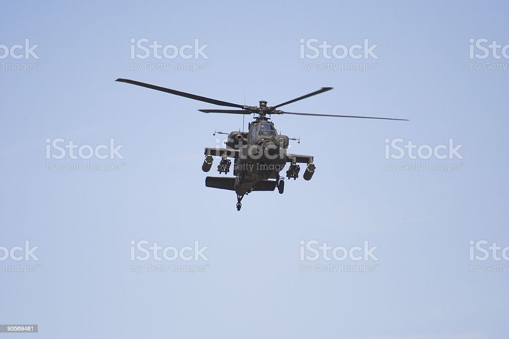 Apache helicopter  in flight stock photo