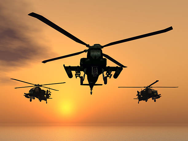 Apache Helicopters Computer generated 3D illustration with Apache helicopters at sunset us military stock pictures, royalty-free photos & images