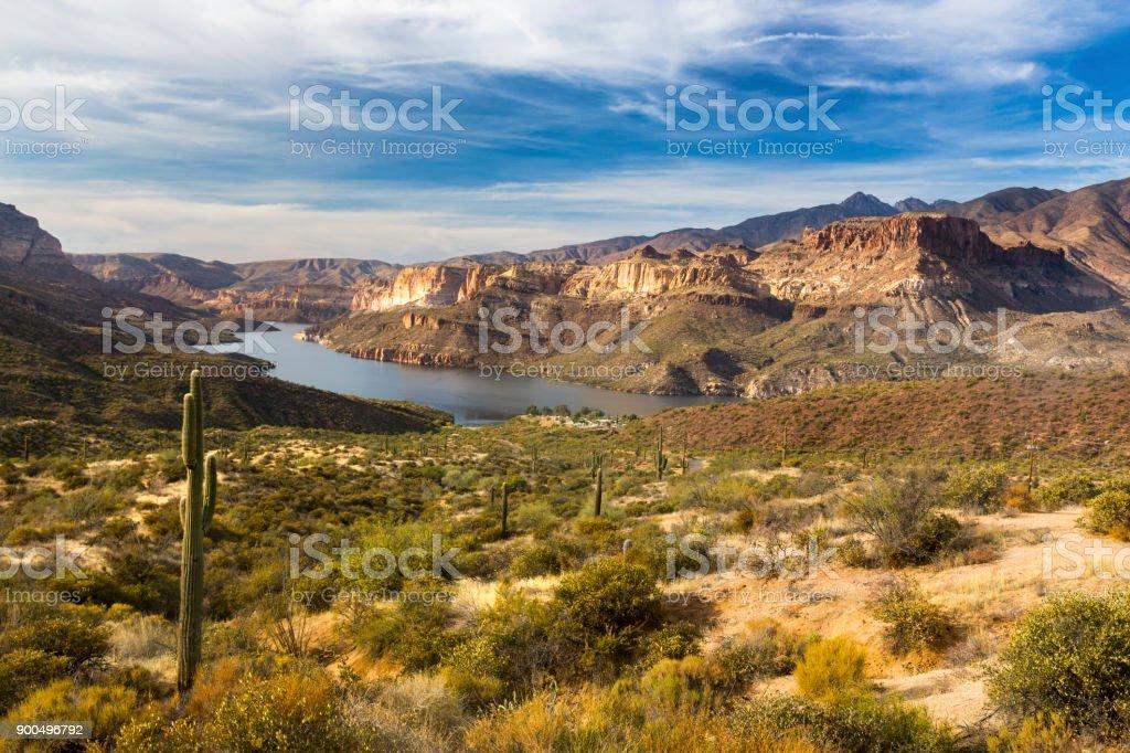 Apache Lake Scenic Landscape in Arizona Superstition Mountains stock photo