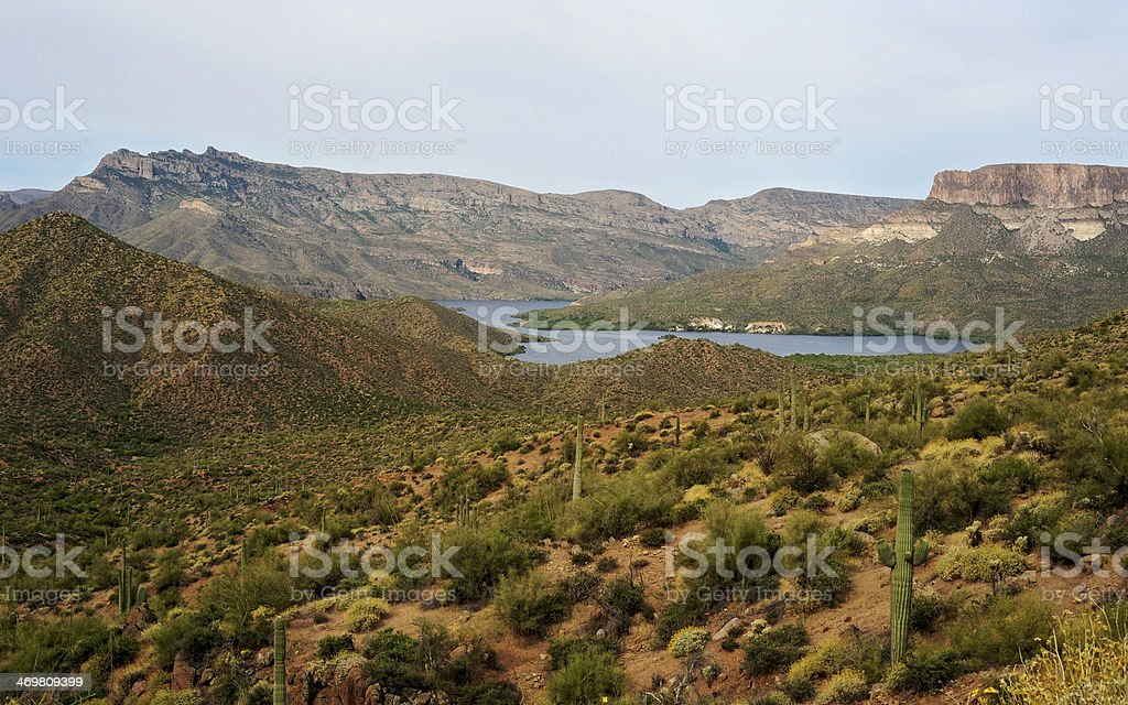 Apache Lake surrounded by the Mountains stock photo