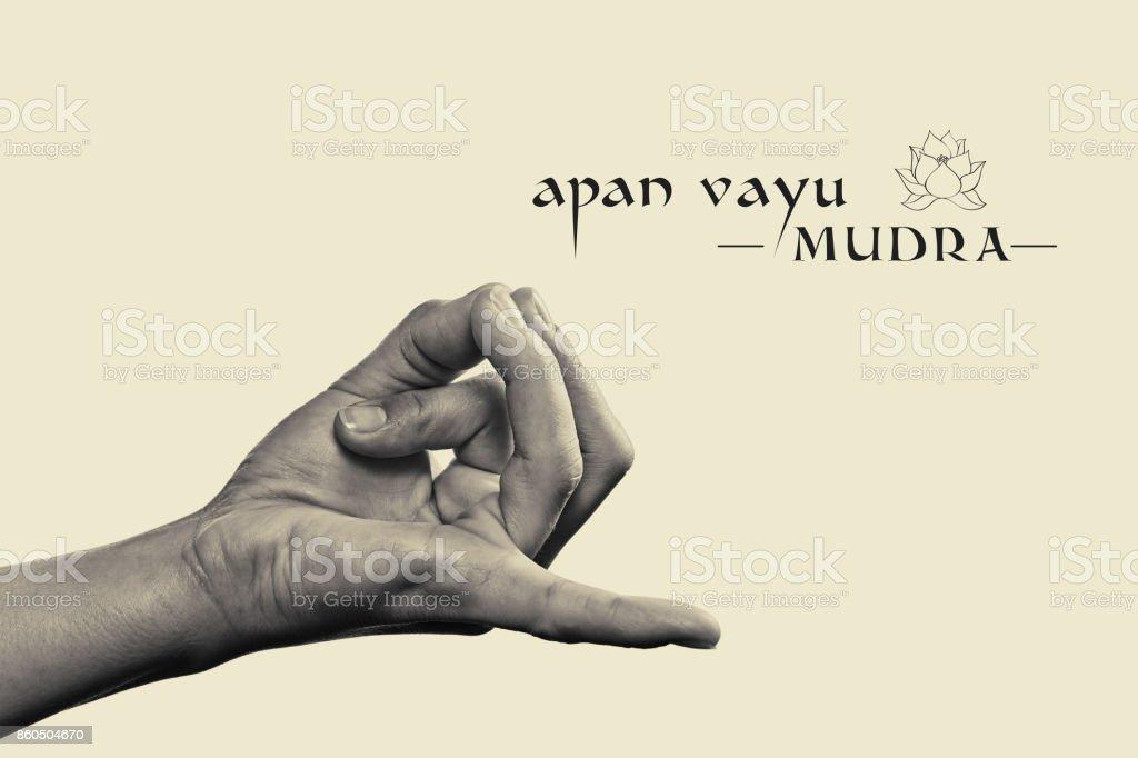 Apan vayu mudra black and white. stock photo