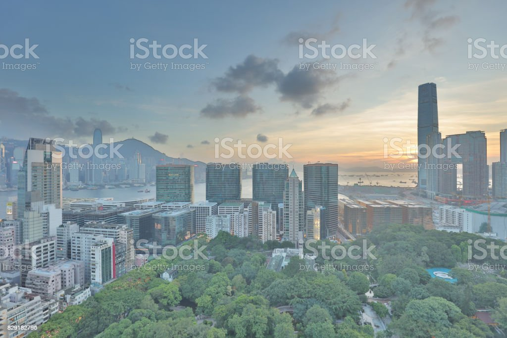 Apartement building in Tsim Sha Tsui 2017 stock photo