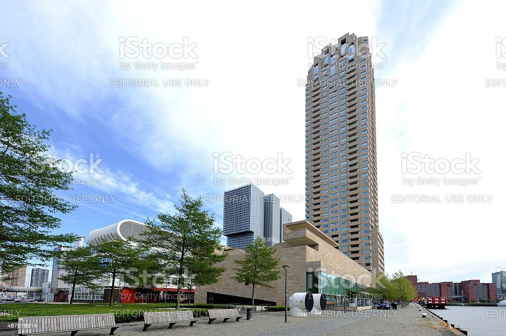 Apartement building New Orleans in Rotterdam dominates Kop van Zuid stock photo