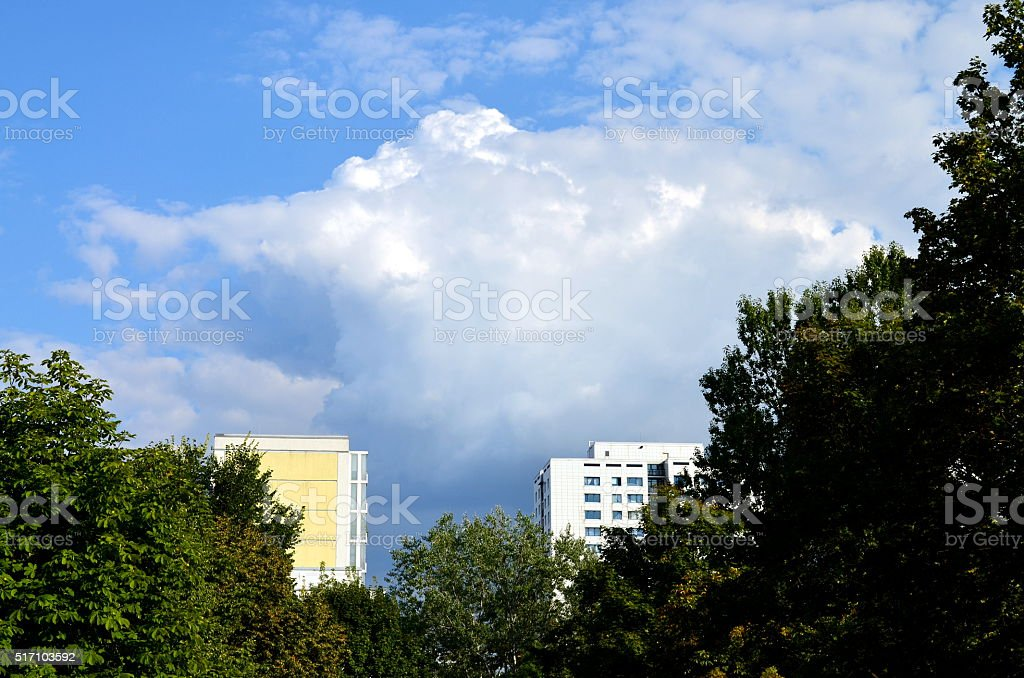 apartement houses in former eastern berlin with trees stock photo