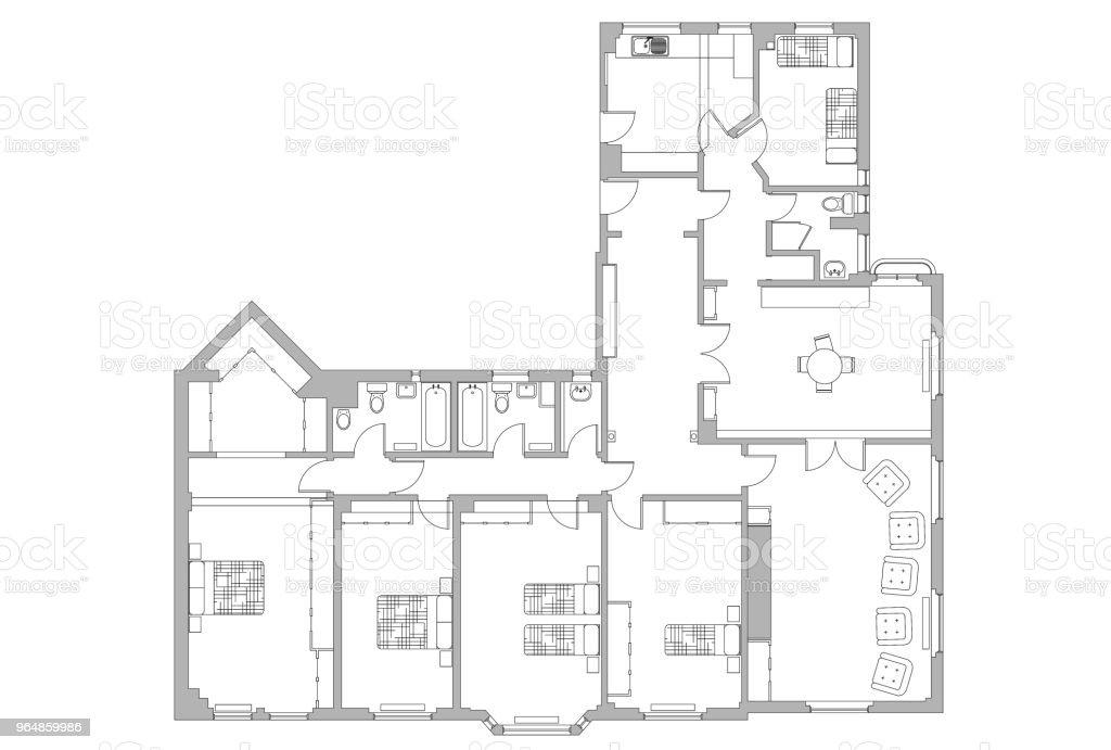 Planta de apartamento arquiteto - Foto de stock de Apartamento royalty-free