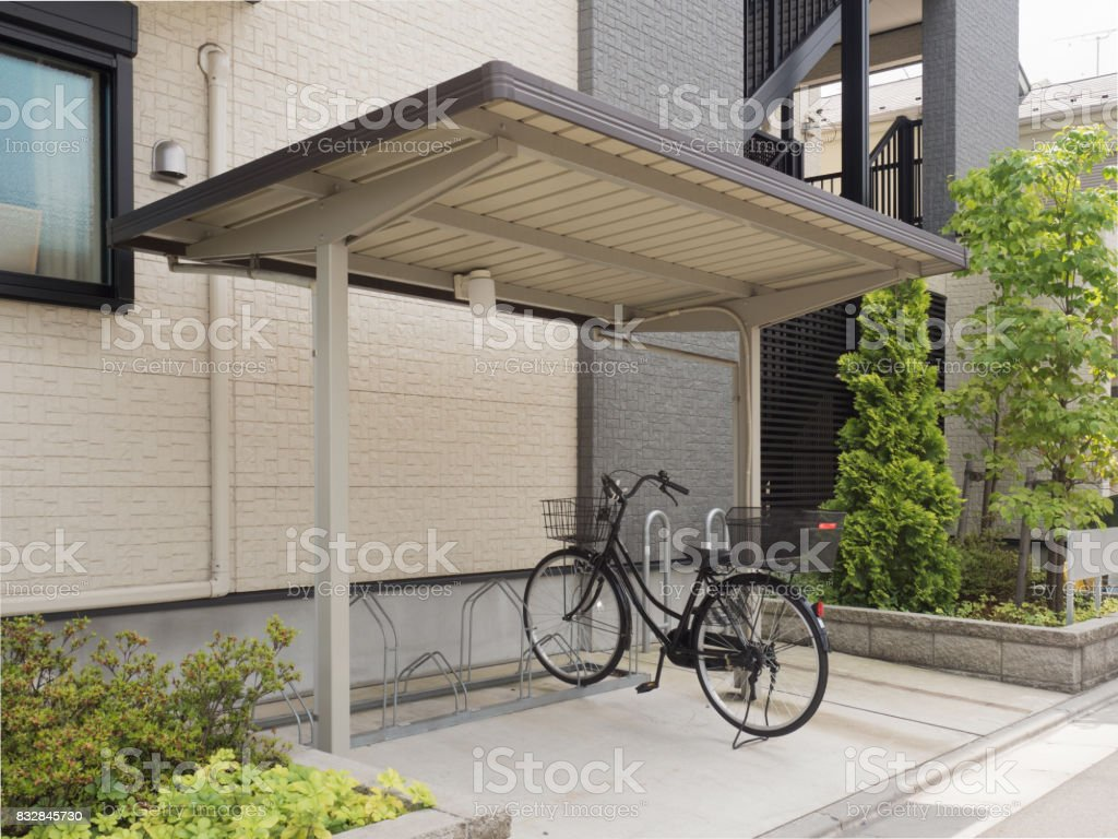 Apartment bicycle parking space stock photo