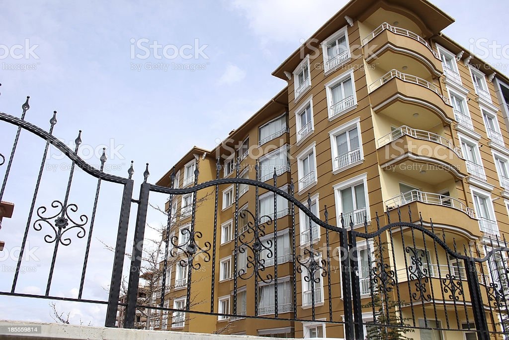 Apartment Block and Wrought Iron royalty-free stock photo