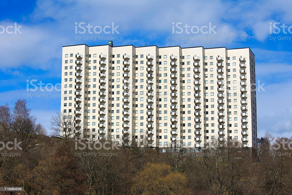 Apartment block in Stockholm stock photo