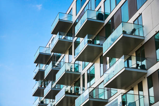 Apartment block, modern architecture in Denmark stock photo