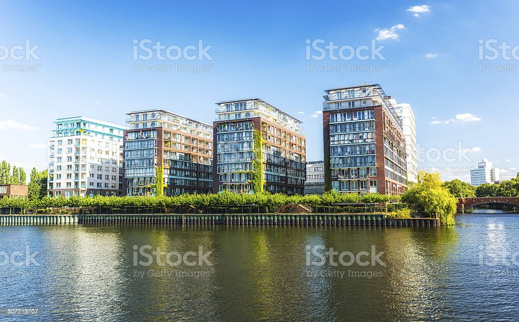 Apartment Blocks close to the water stock photo
