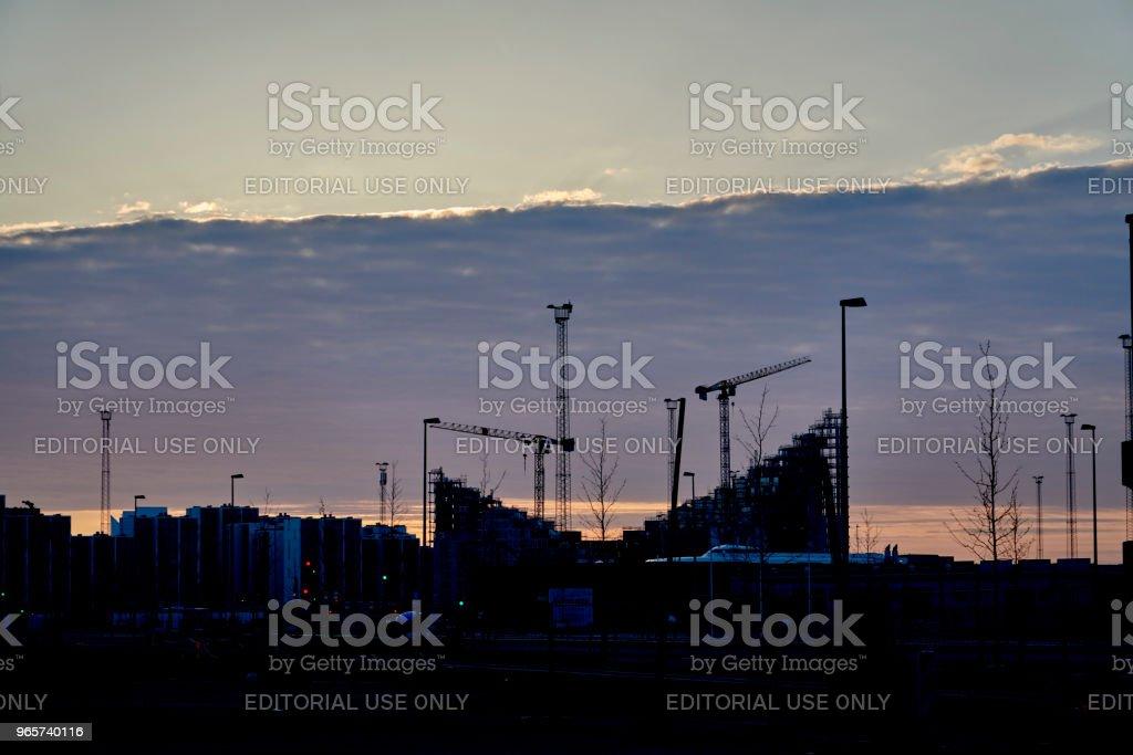Flatgebouwen in Arhus aan einde van Dagmar Petersens Gade - Royalty-free Appartement Stockfoto