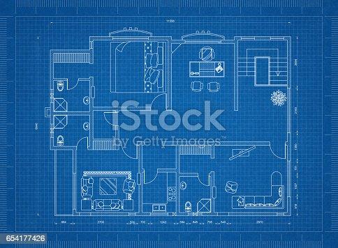 istock Apartment blueprint 654177426