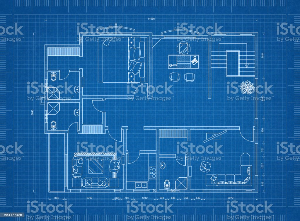 Apartment blueprint stock photo