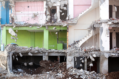 Close-up of demolished Building