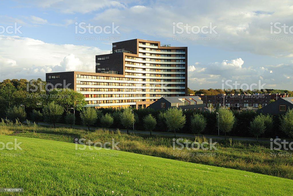 Apartment building and row houses in the Netherlands royalty-free stock photo
