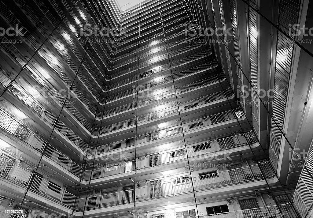 Apartment Building Detail in Hong Kong royalty-free stock photo