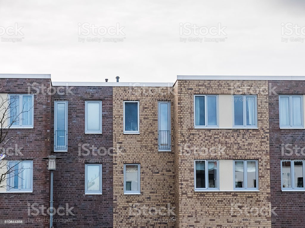 Apartment Building Detail with Brick Exterior stock photo