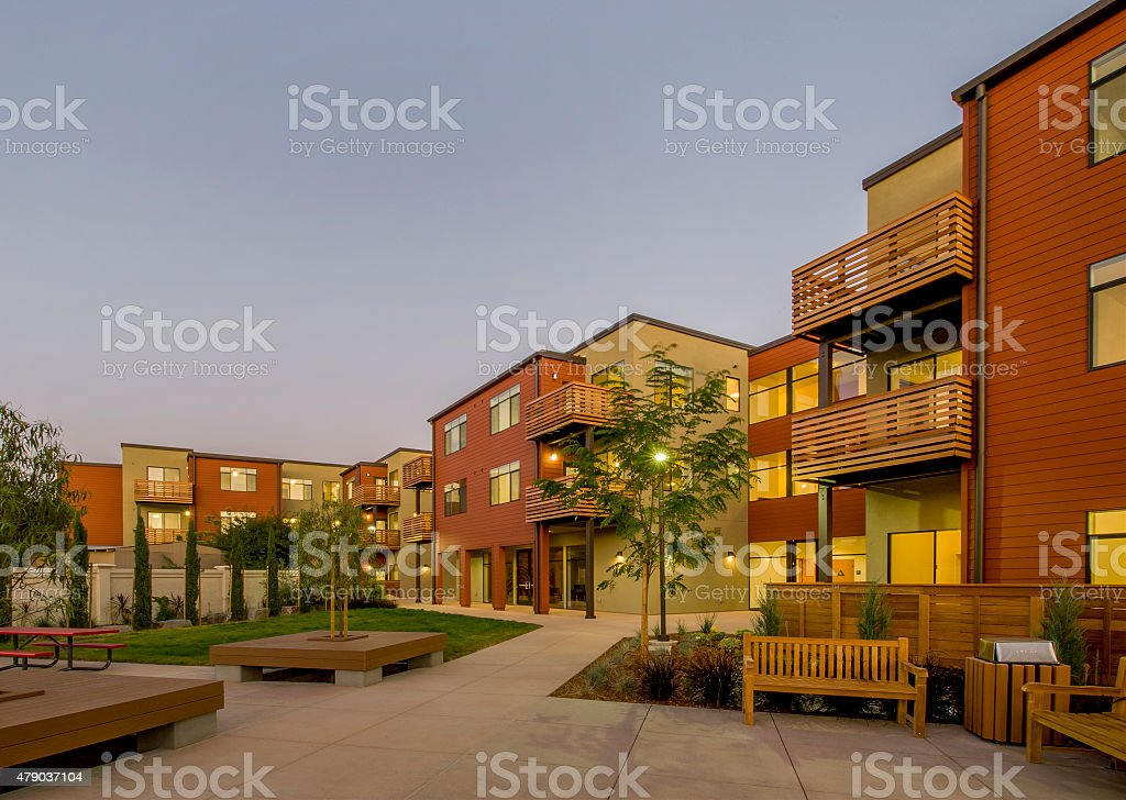 Apartment Building, Dusk stock photo