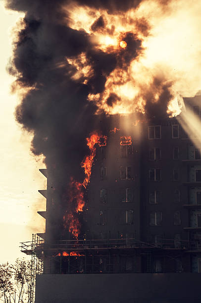 Apartment Building Fire stock photo
