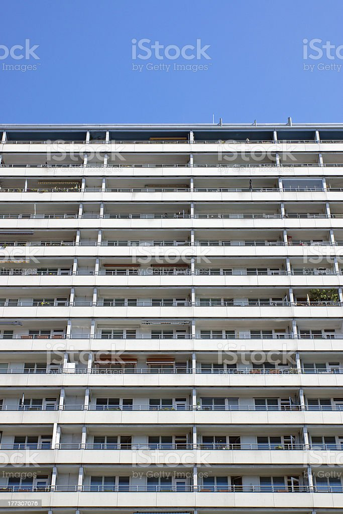Apartment building in Berlin with a blue sky stock photo