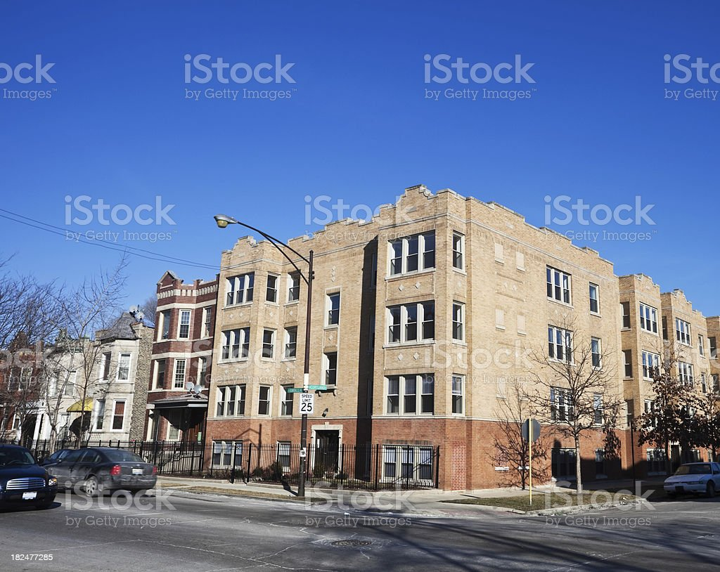 Apartment Building in Humboldt Park, Chicago royalty-free stock photo