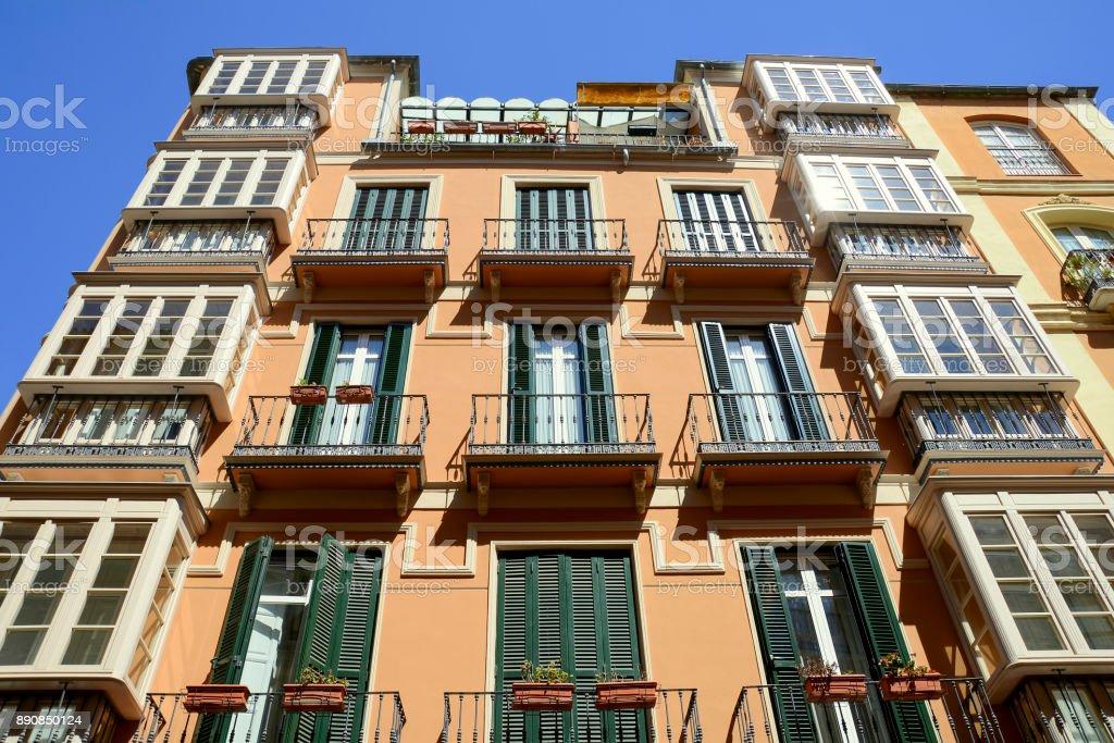 Apartment building in Malaga stock photo